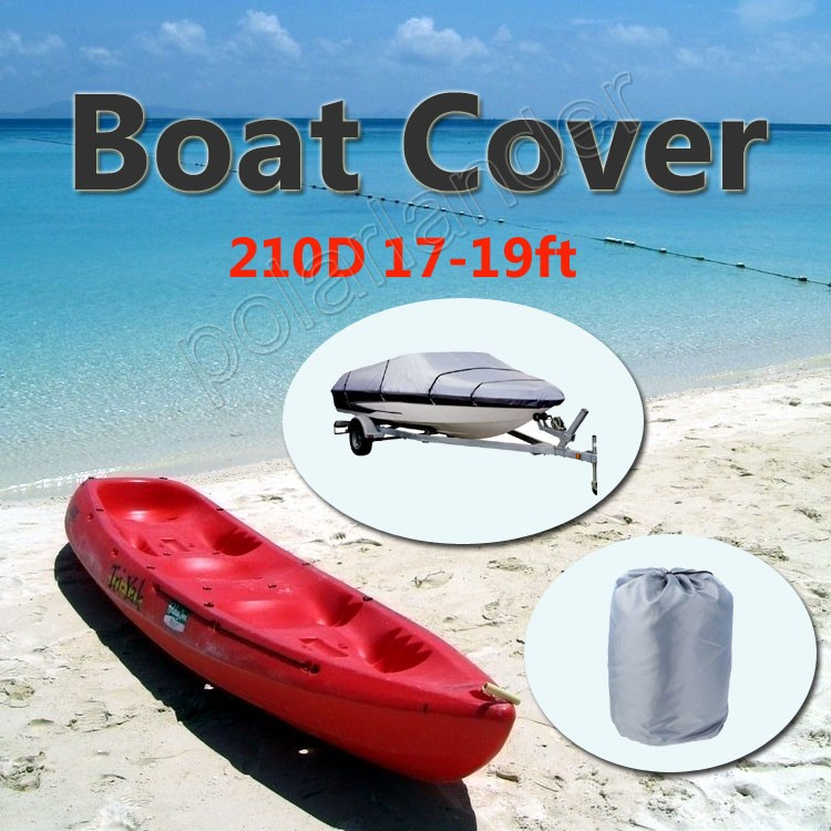 Grey Water Resistant 210D Speedboat Boat Cover 17-19ft Beam 125 Trailerable Fish Ski V-Hull Weather Proof UV Snow Protected