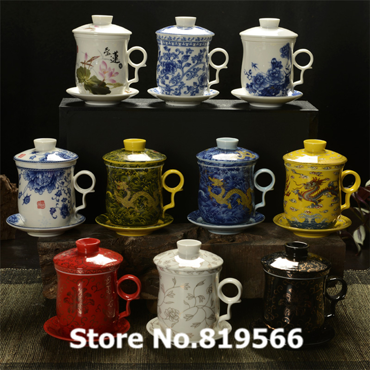 Chinese Ceramic Tea Cup With Lid And Tray 300ml Porcelain