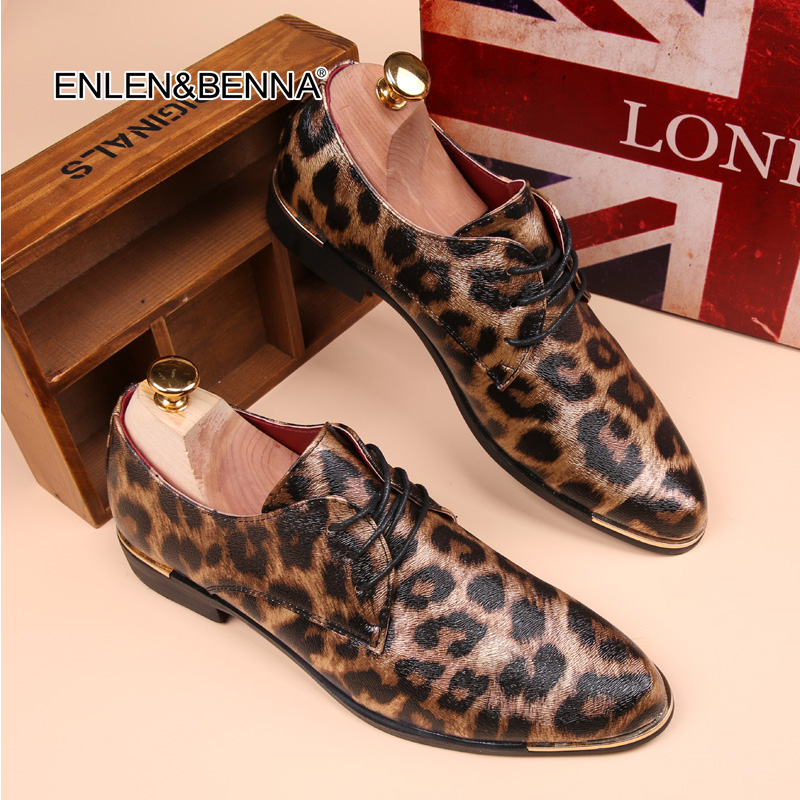2017 Herr skor zapatos hombr Brittiska Höst läderplattform skor leopard tryckta Mänskläder kläder skor oxfords FreeShipping