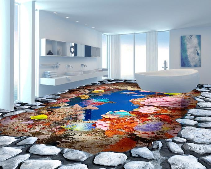 3D Flooring Sea coral reef Wallpaper For Walls 3 D room Mural Bedroom Wallpaper 3D Vinil Flooring Decorative Paintings free shipping marble texture parquet flooring 3d floor home decoration self adhesive mural baby room bedroom wallpaper mural