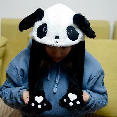 Новинка, Мультяшные шапки с подвижными ушками, милый Игрушечный Кролик, шапка с подушкой безопасности, Kawaii, забавная шапка для девочек, детская плюшевая игрушка, рождественский подарок - Цвет: panda