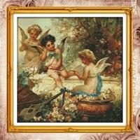 Joy Sunday китайские наборы для вышивки крестиком Cherubs angel garden DMC14CT11CT хлопковая ткань Отель домашний деко оптовая продажа картин с завода-произво...