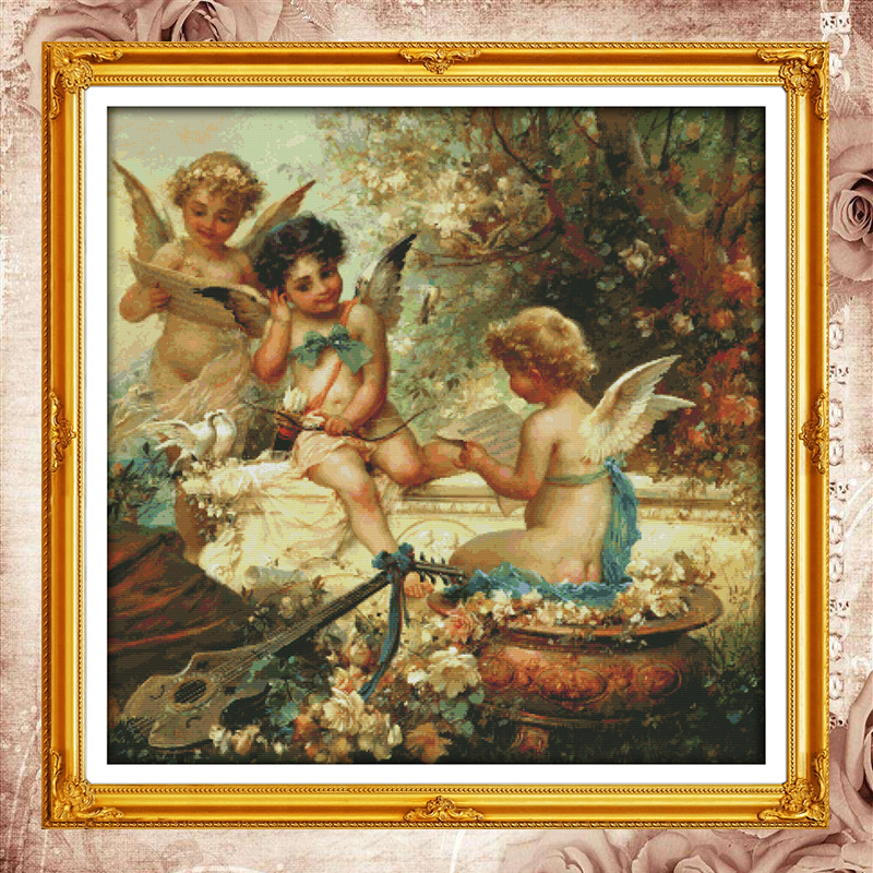 Joy Sunday Chinese cross stitch kits Cherubs angel garden DMC14CT11CT cotton fabric hotel home deco painting factory wholesaleJoy Sunday Chinese cross stitch kits Cherubs angel garden DMC14CT11CT cotton fabric hotel home deco painting factory wholesale