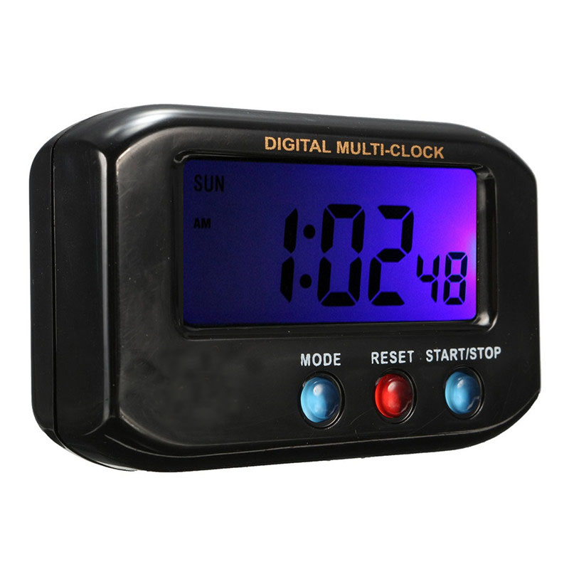 Charminer Black ABS LCD Digital Time Date Alarm Clock Stop Watch Snooze Function With Night Light Approx 6.5 x 4 x 2cm