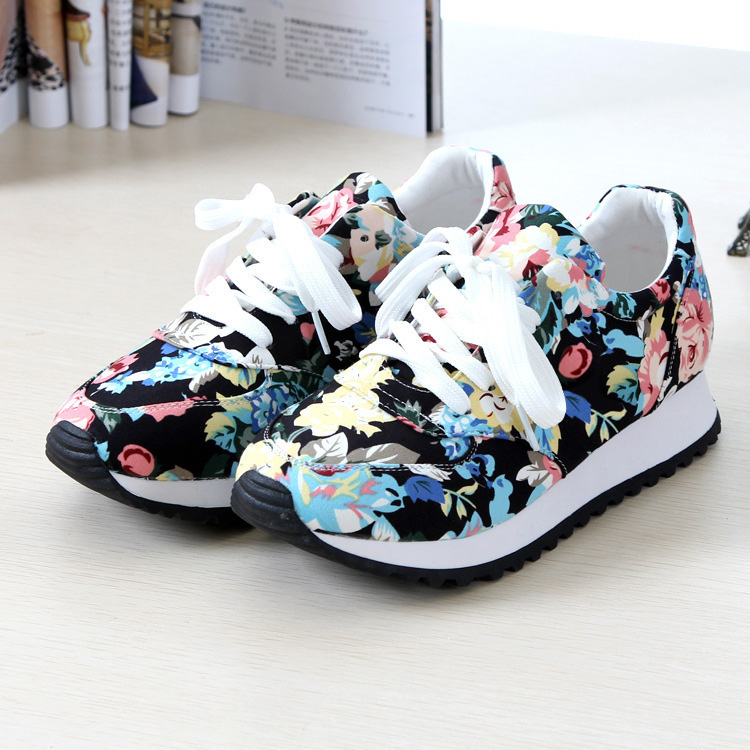 Transpirable cozy mujeres de la impresión zapatos casuales  nuevas cuñas de la m