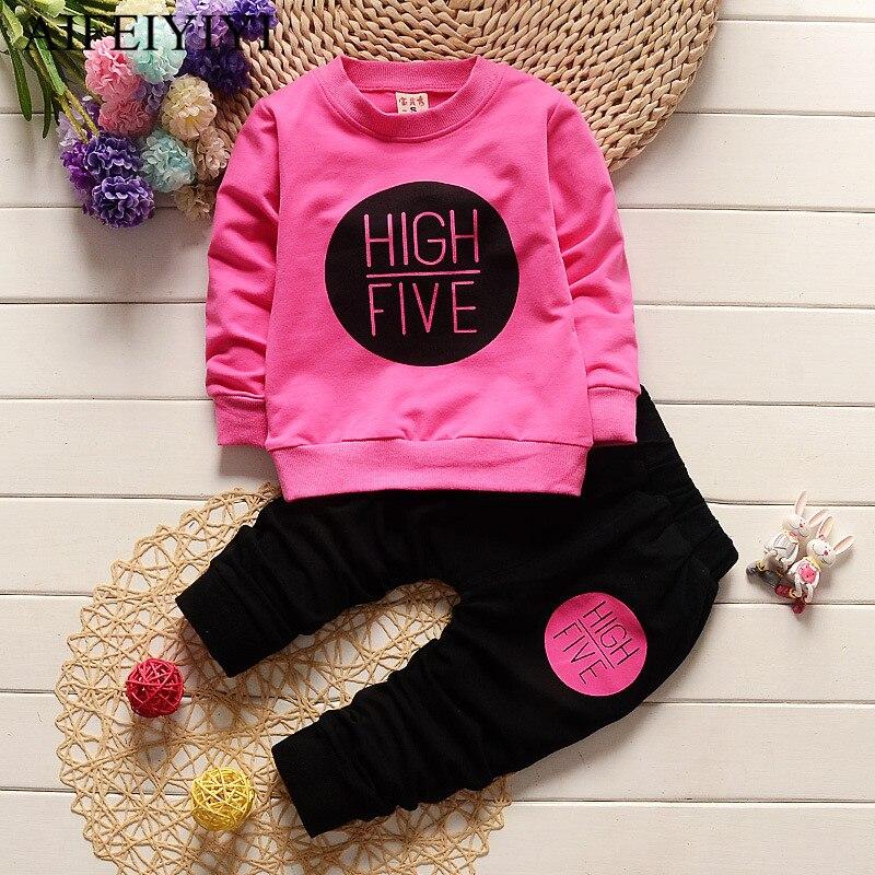 Spring Autumn Kids Girls Boy Clothing Set Long Sleeve T-shirt+Pants 2pcs Suit Sports Clothes Sets Cotton Tracksuit Clothes A1708