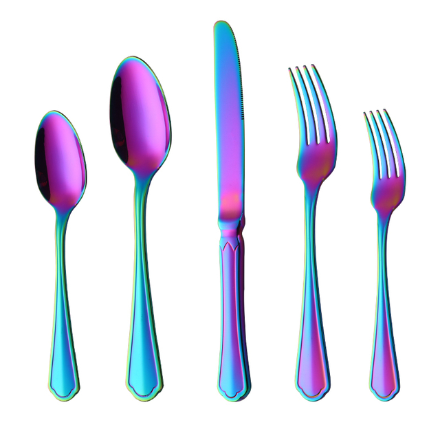 5Pcs/set Colorful Cutlery Stainless Steel Rainbow Dinnerware Set Mirror Polish Table Knife Salad Fork  sc 1 st  AliExpress.com & 5Pcs/set Colorful Cutlery Stainless Steel Rainbow Dinnerware Set ...