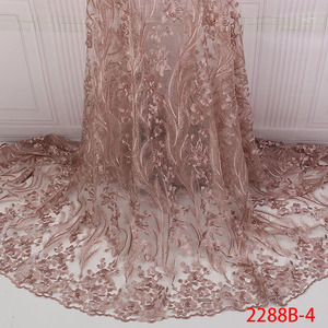 Image 5 - Mesh Lace Trim Latest African Laces 2019 Beads Red Lace Embroidery Gold Lace Fabric Bridal Lace For Nigerian Dresses QF2288B 1