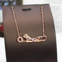 Personality animal series leopard necklace S925 pure silver gold dripping oil adjustable cheetah clavicle chain