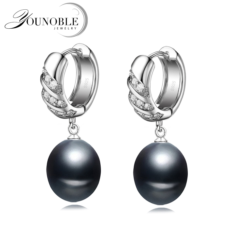 Bridal real 925 sterling silver drop pearl earring for women,annivesary girl gift natural freshwater black pearl earrings-in Earrings from Jewelry & Accessories    1
