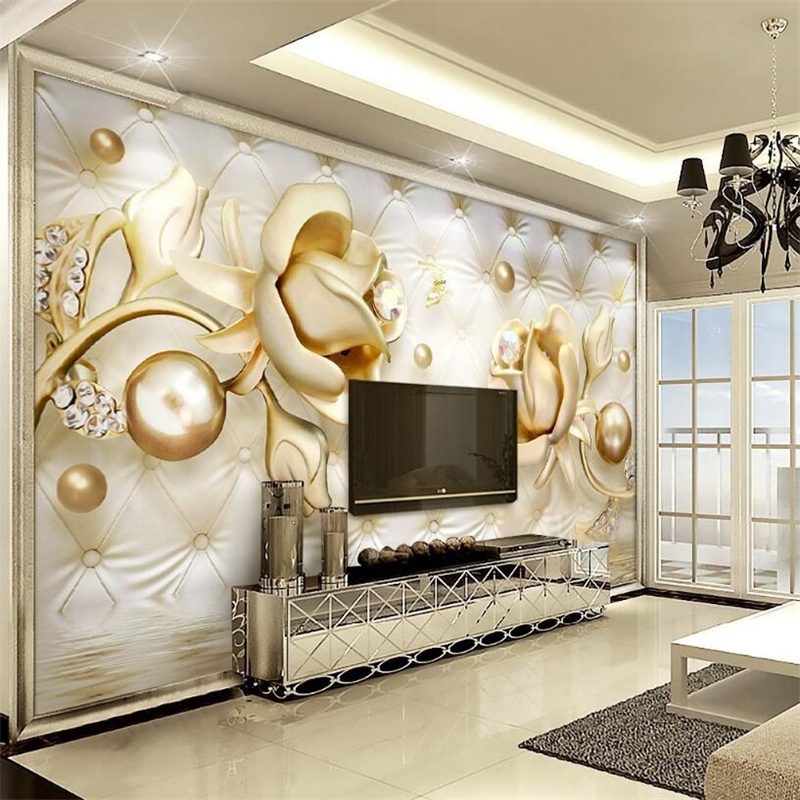 Beibehang 3d Wallpapers Luxury Gold Roses Soft Bag Ball