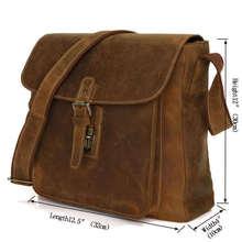 Simple Style Cowboy Crazy Horse Leather Men's Brown Handbag Shoulder Bag Men Messenger Bag # 7111B