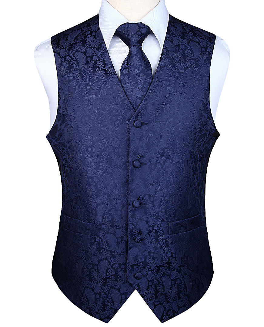 Waistcoat Vest Suit-Set Wedding-Paisley Plaid Classic Party Floral Men's Pocket Jacquard