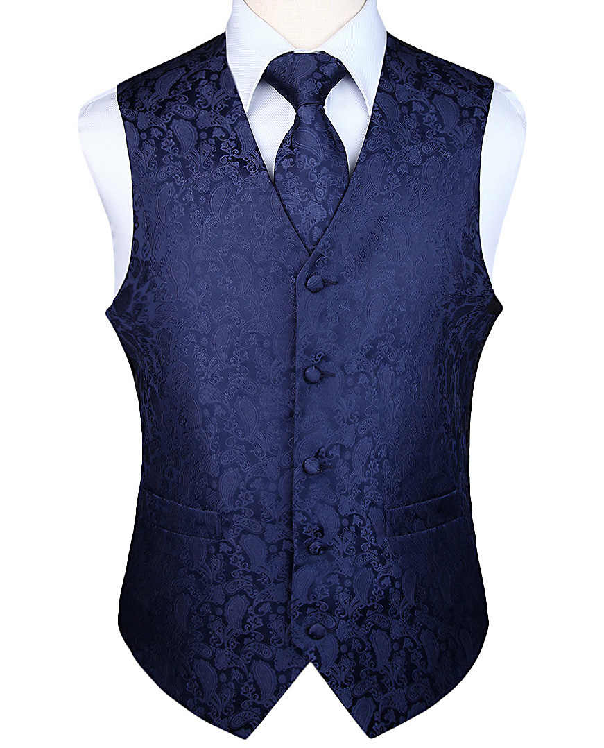 Mannen Classic Party Wedding Paisley Plaid Bloemen Jacquard Vest Vest Pocket Vierkante Tie Pak Set Pocket Vierkante Set