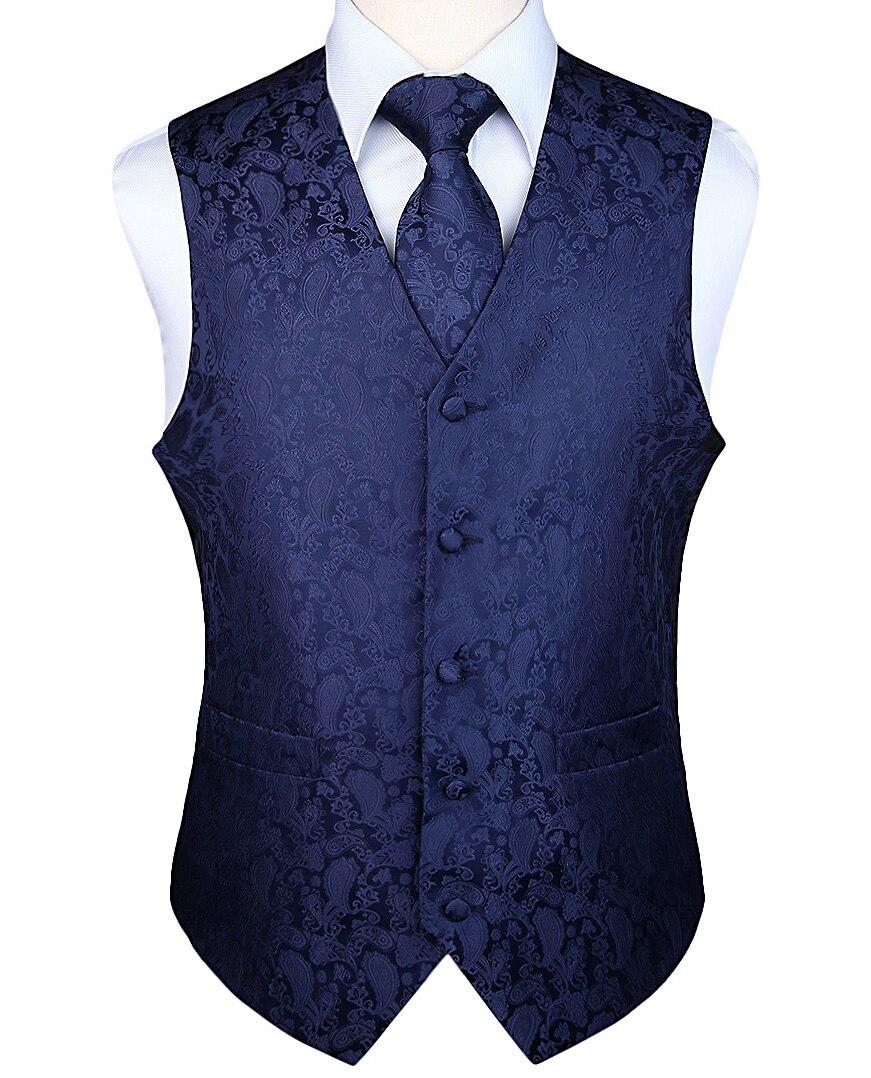 Hommes classique fête mariage Paisley Plaid Floral Jacquard gilet poche carré cravate costume ensemble poche carré ensemble