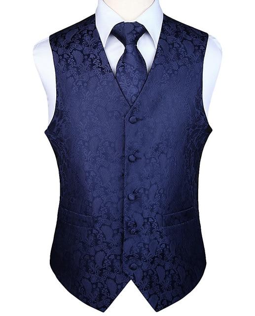 Mens Classic Party Wedding Paisley Plaid Floral Jacquard Waistcoat Vest Pocket Square Tie Suit Set Pocket Square Set
