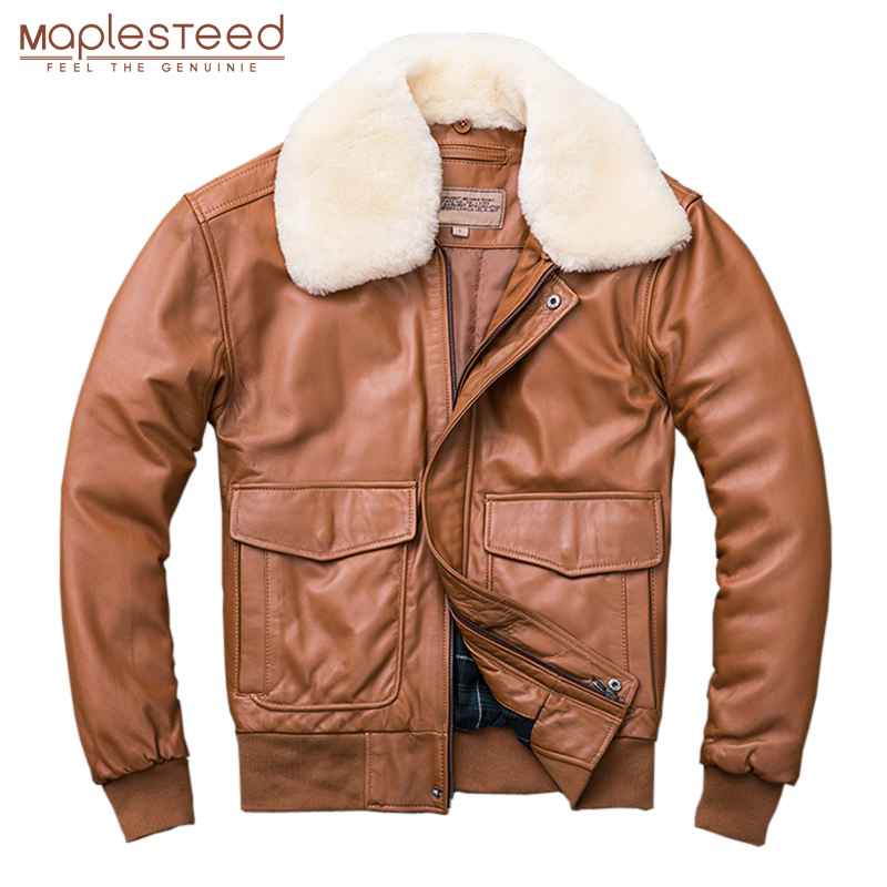 MAPLESTEED Thickening Quilted 100 Sheepskin Leather Jacket Men Air Force G1 Flight Jacket Man Winter Coat MAPLESTEED Thickening Quilted 100% Sheepskin Leather Jacket Men Air Force G1 Flight Jacket Man Winter Coat Collar Removable M176