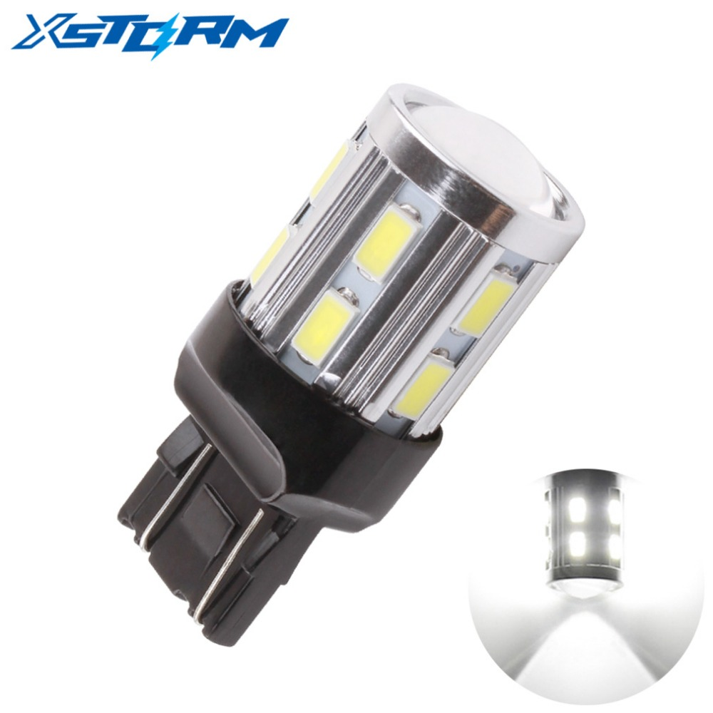 T20 7443 7440 Cree Chip LED 12 SMD 5730 W21/5W 5W Car Bulb Reverse Light Brake Turn Signal Lights source parking auto lamp White mayitr 2pcs t20 7443 w21 5w 6500k halogen white blue drl turn signal stop brake tail light bulb indicators lights