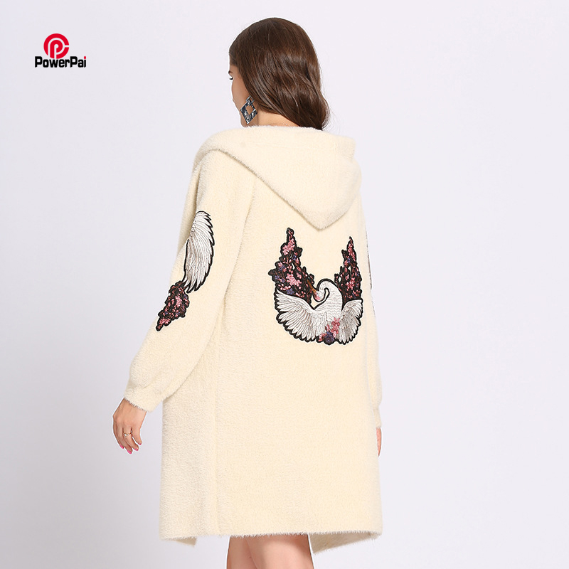 Korean Style Fashion Thick Warm Mink Cashmere Coat Hooded Embroidery Swan Long Jacket Overcoat Women Autumn