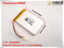 1pcs [SD] 3.7V,1000mAH,[404060] Polymer lithium ion / Li-ion battery for TOY,POWER BANK,GPS,mp3,mp4,cell phone,speaker