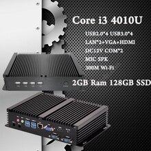 Безвентиляторный Неттоп Мини Принимающей Промышленных Computator 2 ГБ Ram 128 ГБ SSD Haswell Процессор Intel Core i3 4010U Mini PC бесплатная Доставка