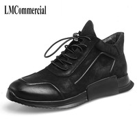 Spring And Autumn Casual High Shoes Male Real Leather S All Match Cowhide Oots Men New