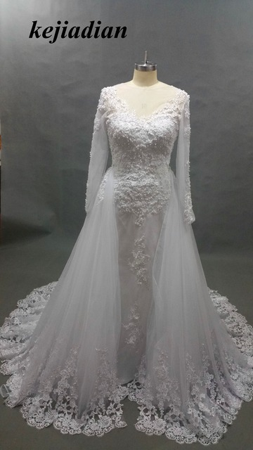 Lace Mermaid Wedding Dress 2017 Long Sleeve Floor Length Dresss With Detachable Tail Bridal Gown