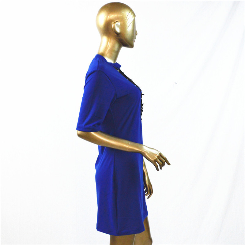 HTB1kIlwOpXXXXaMXFXXq6xXFXXXh - Sexy Out Lace Up V Neck Dress Women Short Sleeve PTC 48