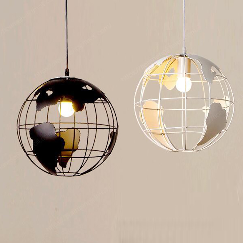 Art Deco globe black white modern pendant Lamp iron cage Loft E27 cord Lights for dining room living room cafe office bedroom victoria charles art deco