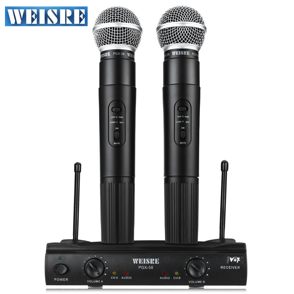 Professional WEISRE PGX58 VHF Wireless Microphone Dual Handheld+2 x Mic Cordless with Receiver for Karaoke KTV Omni-directional professional handheld dynamic karaoke mic vhf wireless microphone system with receiver for ktv fio microfone mikrofon microfono