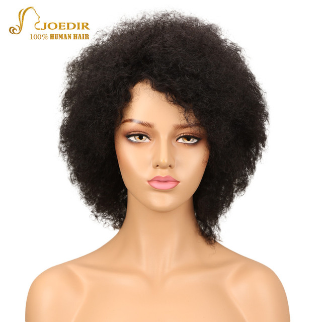 Joedir Brazilian Afro Kinky Curly Bulk Bob Human Hair Wigs For Black Women  Brazilian Remy Short Human Hair Wigs Natural Black 08912ad0158f