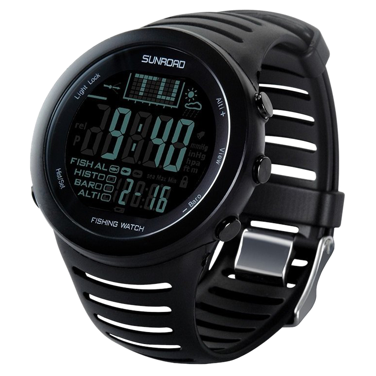 SunRoad FR720 5ATM Waterproof Digital Sport Watch Stopwatchs/Altimeter/Barometer for Outdoor Fishing,Climbing (Black)
