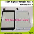 1 unidades de Hight Calidad comprobada blanco y negro digitalizador táctil completa + botón de inicio + pegatinas + herramientas para ipad mini 1 para ipad mini 2