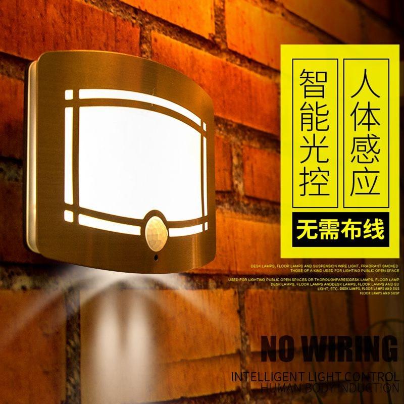 Light controlled human body induction wall lamp energy saving originality LED emergency night light battery induction