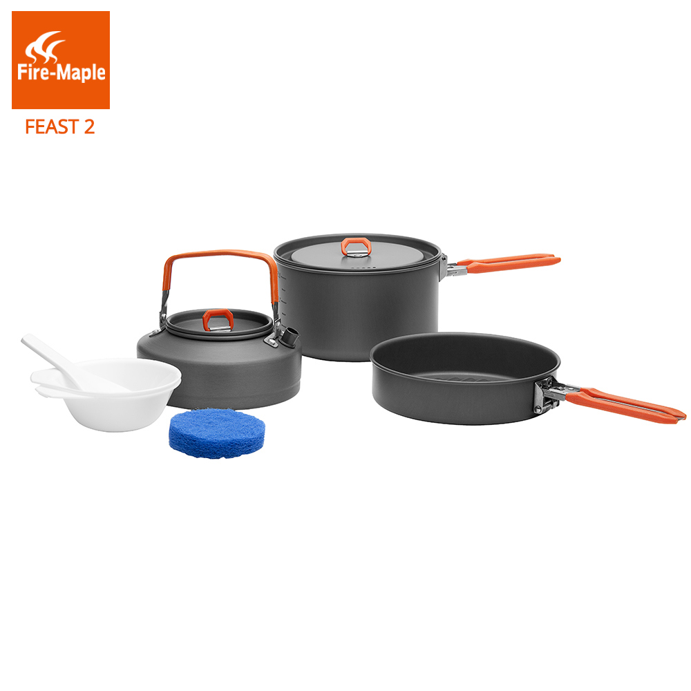 Fire Maple Feast 2 Outdoor Camping Hiking Cookware Backpacking Cooking Picnic Pot Pan Set Foldable Handle 2-3 Persons FMC-F2 fire maple fmc td3 camping titanium pot set ultralight 1 2 person outdoor picnic cooking cookware pot frying pan 174g
