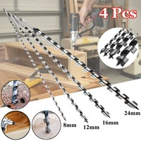 4pcs 600mm Long Wood Auger Drill Bits 8mm/12mm/16mm/24mm High carbon steel Wood cutter Woodworking Metal Drilling Set