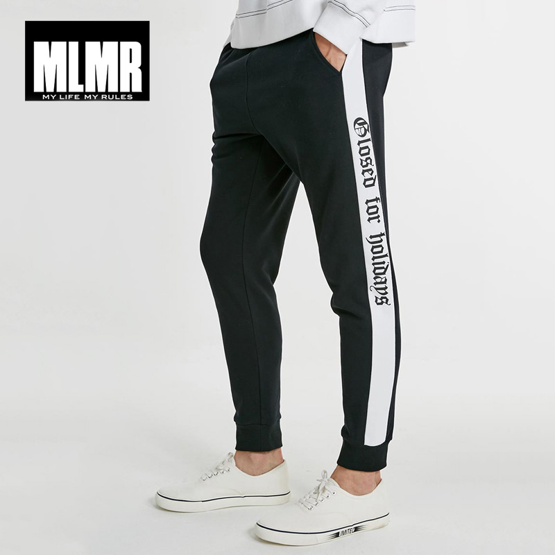 MLMR Men's Autumn Men Pants Letter Print Spliced Sweatpants Trousers Men Track Pants | 218314527