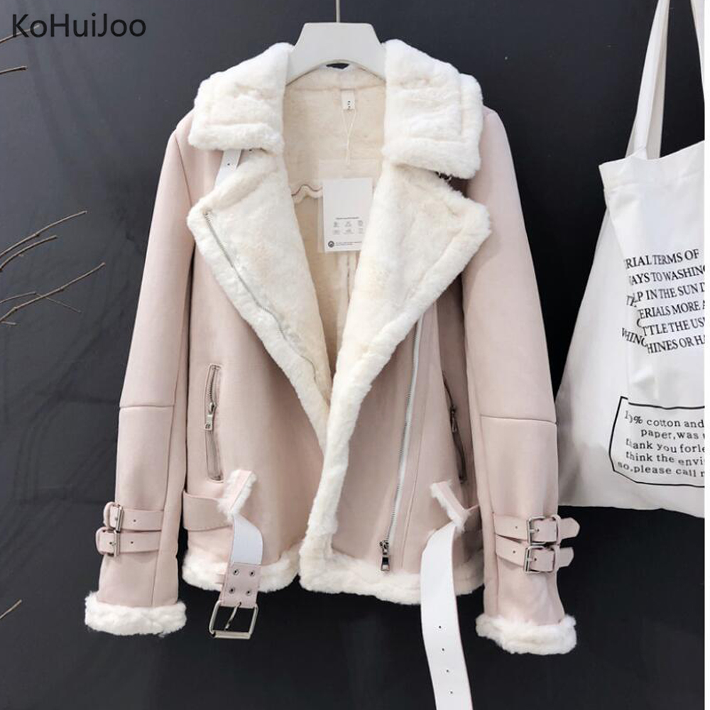 KoHuiJoo Winter Suede Jacket Women Thick Warm Fashion Zipper Motorcycle Suede Leather Coat Female Shearling Overcoat