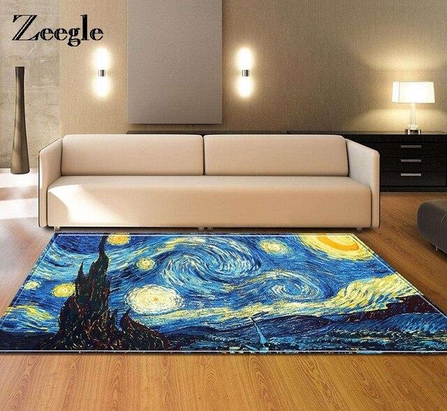 Zeegle Van Gogh Oil Painting Design Starry Sky Carpet European Rugs Extraordinary Living Room Carpets Rugs Painting