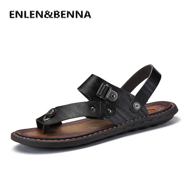 d0a7541ea ENLEN BENNA Brand 2018 New Men s Flip Flops Genuine Leather Slippers Summer  Fashion Beach Sandals Shoes Men Shoes Big Size 38-47
