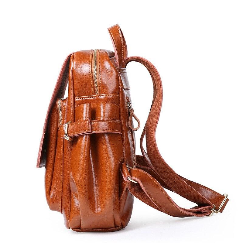 Bagaj ve Çantalar'ten Sırt Çantaları'de 2019 Vintage Klasik Yağ Wax Inek Derisi Gerçek deri kadın Sırt Çantaları Kadın Hakiki Deri Bayan Sırt Çantası Okul Çanta Çanta'da  Grup 3