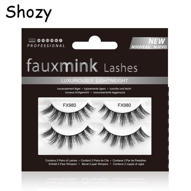 Shozy 2pairs/set False Eyelashes Luxury Hand Made Faux Mink Lashes Makeup Eyelash Extension-FX980