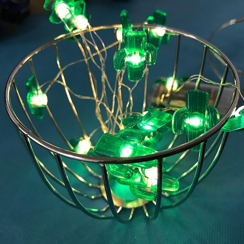 Зеленый Кактус светодиодный гирлянды-39,37 Длина новогодние гирлянды DIY Светло-медный строка вечерние цепи освещения Праздничные огни