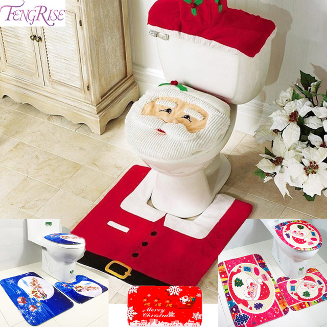 FENGRISE Merry Christmas Rug Bathroom Toilet Seat Cover Navidad New Year Decor Decorations For Home Noel Santa Claus In Pendant Drop Ornaments