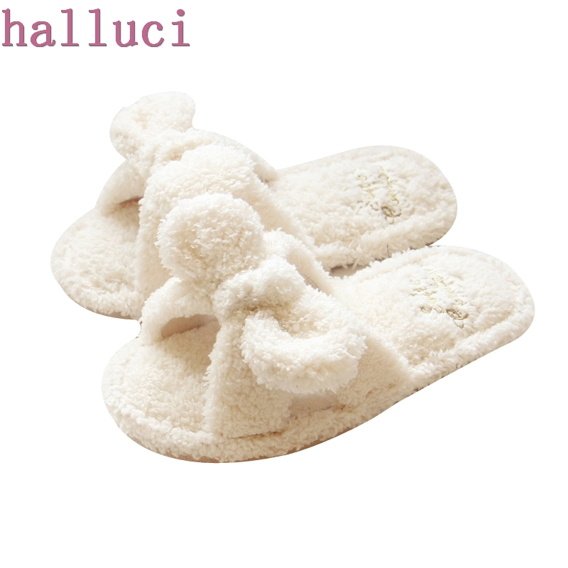 Flock Bowtie Spring Summer Women Home Slippers For Indoor Bedroom House Soft Bottom Cotton Warm Shoes Adult Guests Flats home slippers soft plush cotton cute slippers shoes non slip floor indoor house home fur slippers women shoes for bedroom