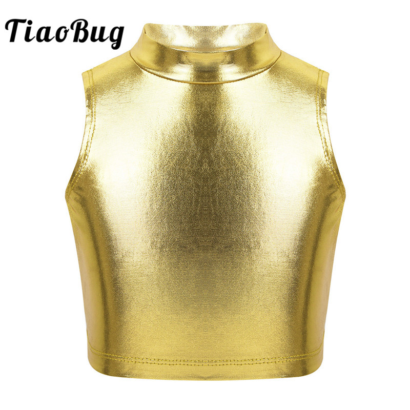 TiaoBug Kids Teens Sleeveless Turtleneck Metallic Ballet Gymnastics Crop Tops Children Girls Jazz Performance Dance Wear Costume