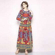 European retro print long sleeve dress New 2018 spring autumn runways maxi Fashion women vintage S523