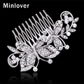 Minlover Crystal Wedding Hair Accessories Bridal Comb for Women Silver Plated Rhinestones With Butterfly Hair Jewelry MFS137