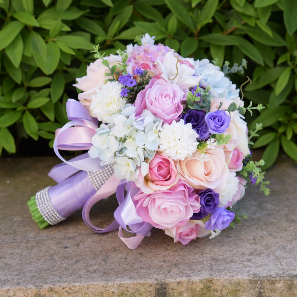 Aliexpress Buy Elegant Purple Artificial Flowers Wedding