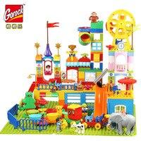 GOROCK Big Particles Girl Castle Park Slide Sofa Princess Building Blocks Toys Compatible Legoings Duploe Sets Christmas Gifts